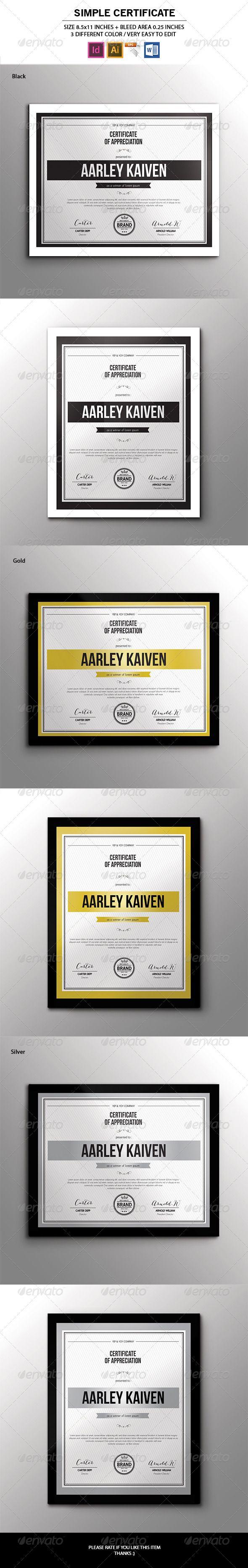 Simple Multipurpose Certificates - Certificates Stationery « GraphicRiver.com