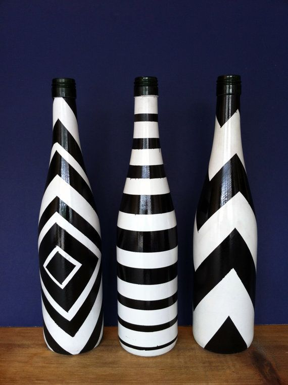 Hand-Painted Wine Bottle (Black and White)