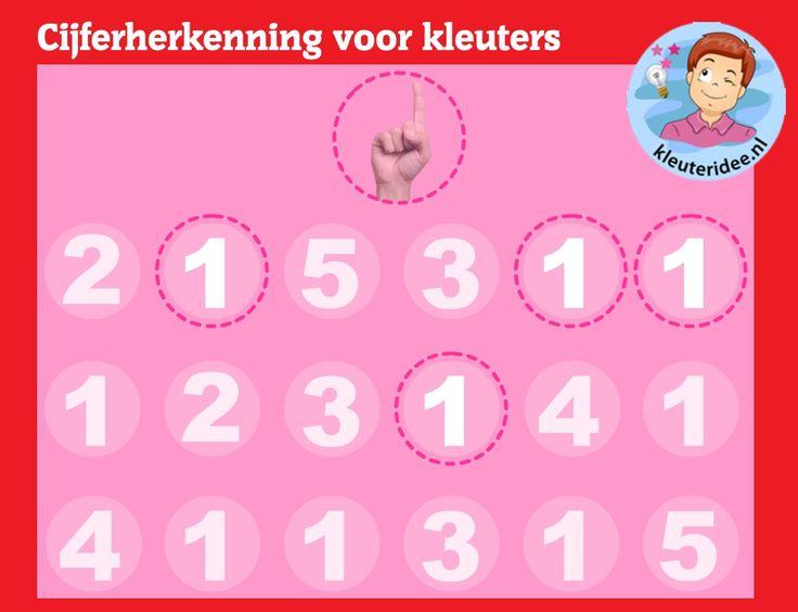 Cijferherkenning voor kleuters op digibord of computer op kleuteridee.nl, Kindergarten number game for IBW or computer
