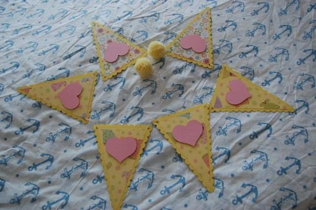 Handmade Personalised Bunting Girls themed, Dresses, Flowers, Hearts, Yellow £5.99