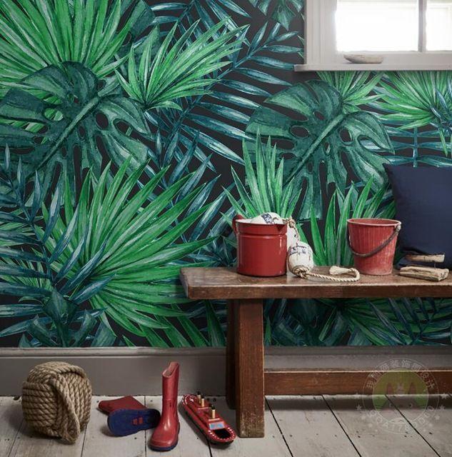Пользовательские Стене Фреску Обои Европейский Стиль Nordic простота Тропический Лес Завод Банановые Листья Пастырской Роспись Стен Обои 3D