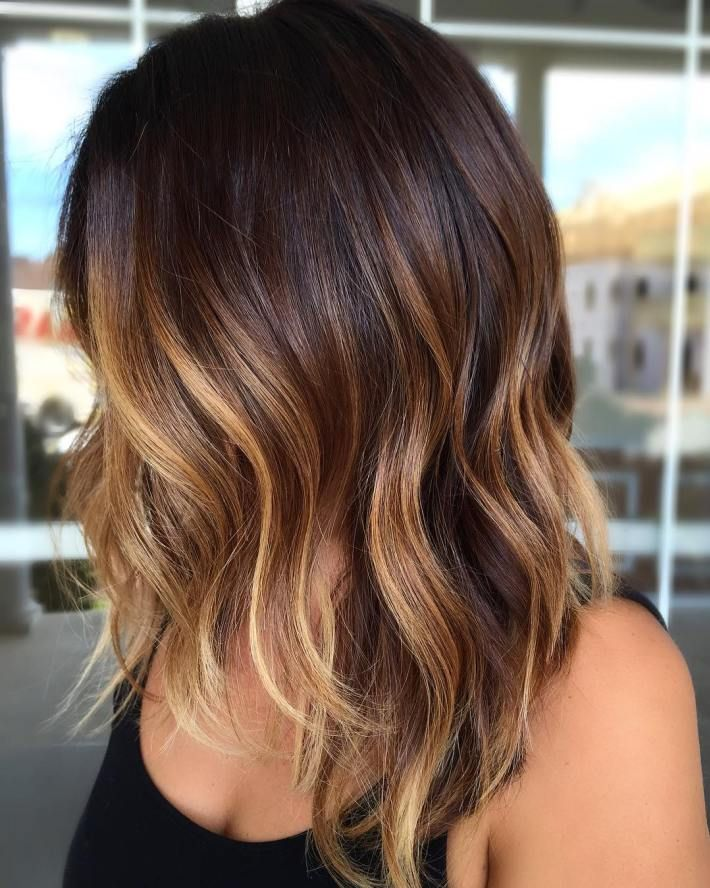 Dark Brown Bob With Caramel Balayage