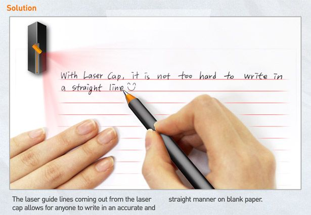Laser Cap is a small concept gadget that projects a pattern of lines onto blank paper to facilitate straight handwriting.