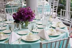 tiffany blue table cloth and silver chavari chairs