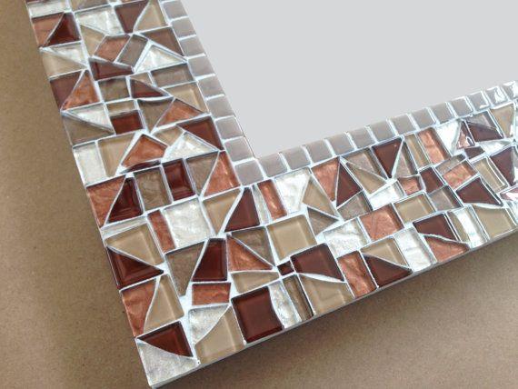 Mosaic Mirror in Brown Tan Beige Metallics by GreenStreetMosaics