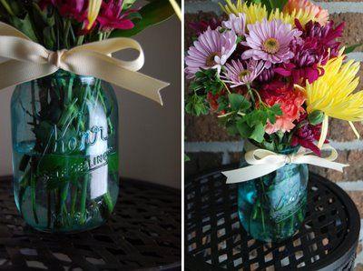 "DIY "" vintage"" aqua glass Mason jars"