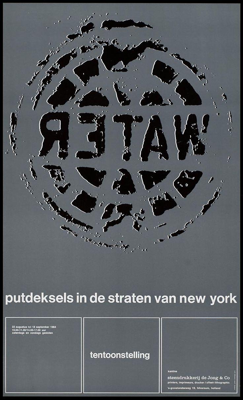 Pieter Brattinga, kantine steendrukkerij de Jong & Co Hilversum 22 augustus tot 18 september 1964 putdeksels in de straten van new york, 1964