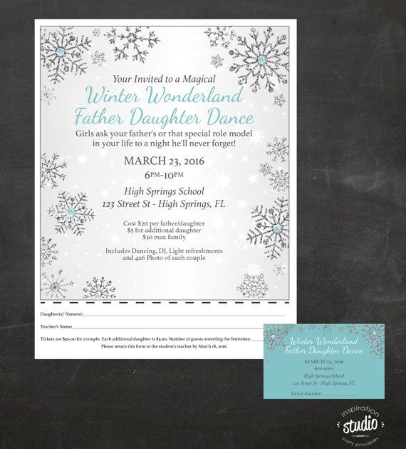 Winter Wonderland - Father - Daughter Dance - Event Custom Printable Package - flyer and tickets