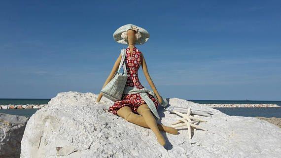 Tilda bambola in spiaggia bambola stile Tilda fatto a mano