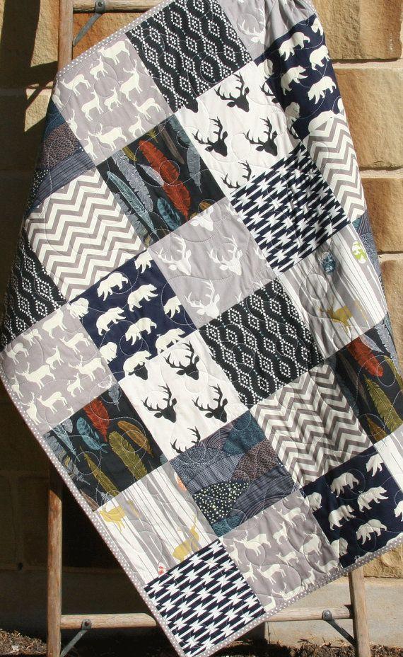 Baby Quilt, Boy, Navy Blue Grey Gray, Elk Deer, Woodlands , Birch Forest, Modern Blanket, Chevron Bear Aztec, Crib Bedding, Children Baby by SunnysideDesigns2
