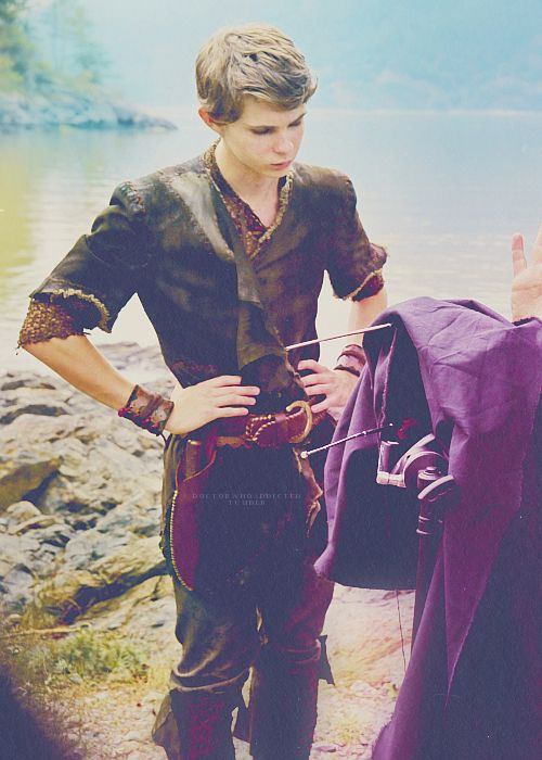 Robbie Kay on the set of Once Upon A Time