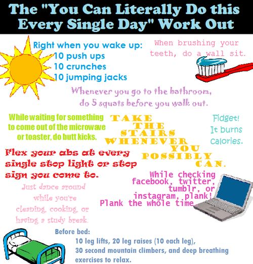 We know it can be hard to find the time to workout- luckily these exercises can be done anytime, anywhere!