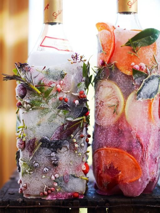 Festive Frozen Vodka Bottle by jamieoliver: A fun and pretty #DIY #Party #Icy_Bottle