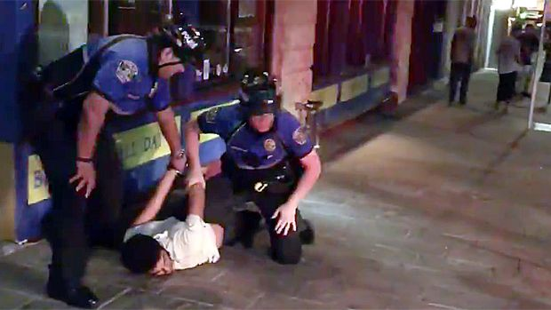 Austin police were caught on video beating up two men because they had crossed a street against a traffic light.