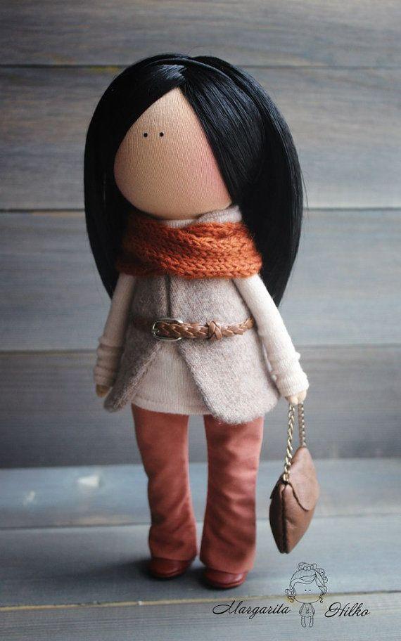 Art doll handmade brunette orange grey by AnnKirillartPlace