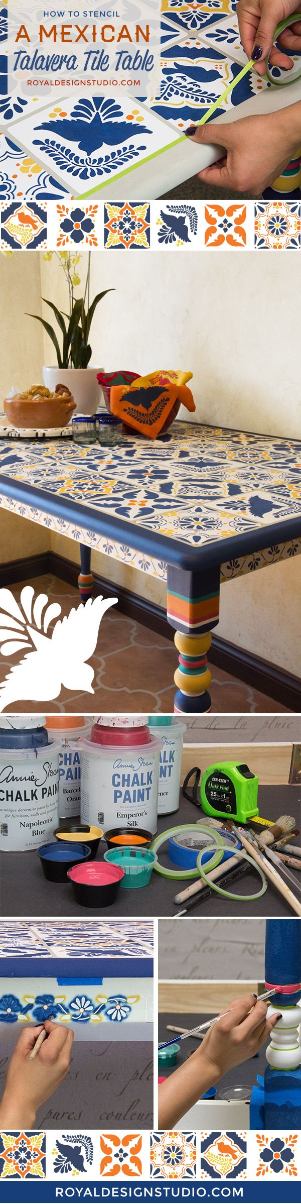 DIY Project VIDEO Tutorial: How to stencil a Mexican talavera tile table with furniture stencils and chalk paint by annie sloan