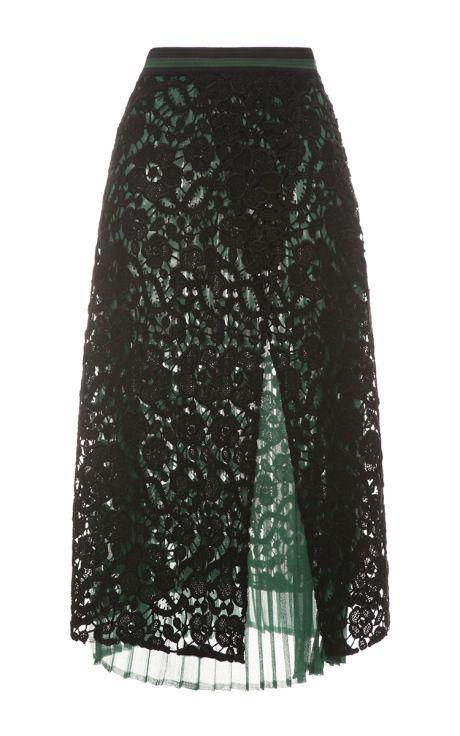 Black Macrame Lace Skirt by Salvatore Ferragamo for Preorder on Moda Operandi