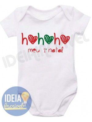 Body Infantil  Ho Ho Ho Meu Primeiro Natal - Modelo: 3