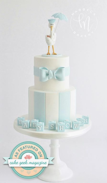 The Marbeca Bakery Stork cake Cake Geek Magazine  Pastel de cigüeña  Baby shower