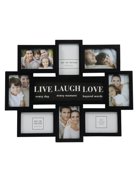 """Gallery Live Laugh Love Photo Frame, Black, 4"""" x 6"""" product photo"""