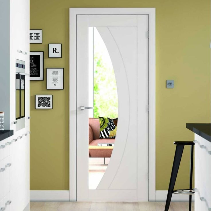Salerno White Primed Oak Door, Clear Safety Glass  - Lifestyle Image