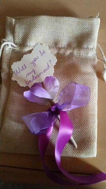 Burlap engagement party,  placed a present inside