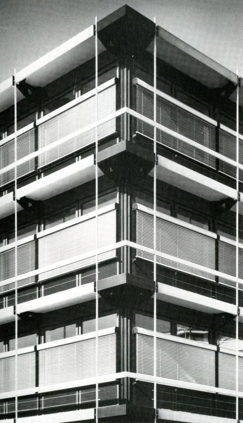 Fixed textile awning on IBM offices, by Egon Eiermann [299] | filt3rs