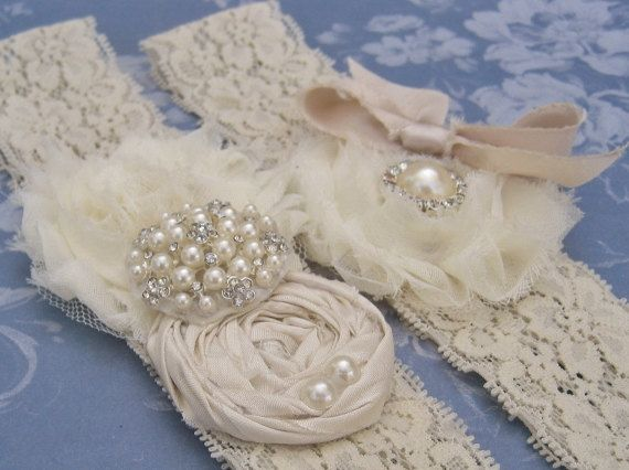 Wedding Garter Set Toss Garter included  Ivory with Rhinestones and Pearls Vintage Wedding Garter  Custom Wedding colors