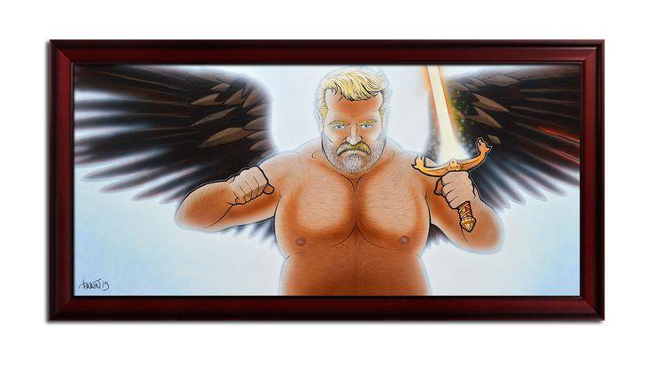 Me, Michael, archangel. Acrylics, pencils on canvas 120x60 cm