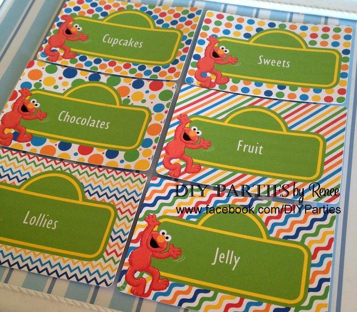 Candy buffet jar labels - rectangle - Sesame Street/Elmo. Find us on Facebook:  www.facebook.com/diyparties