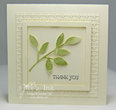 handmade card: Little Leaves Thank You MnT Lighter... luv the frame look with die cut square layers of vanilla, Square Lattice Embossing Folder texture, and mat llayer above the central focal point ... Stampin'Up!