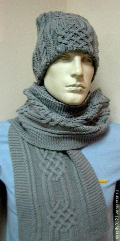 """Купить Комплект вязаный """"Серый -аранские узоры"""" - серый, однотонный, комплект вязаный, шапка и шарф"""