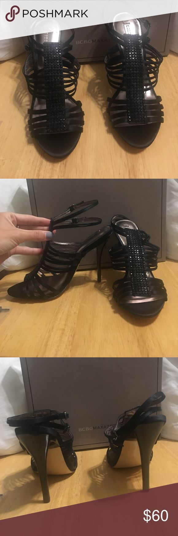 BCBG MAXAZRIA Black Open Toed strap heels 6.5 New with box Black open toed strap heels with rhinestone front. Come with 2 extra heel stoppers in case one breaks. Size 6.5. 4 in heel BCBGMaxAzria Shoes Heels