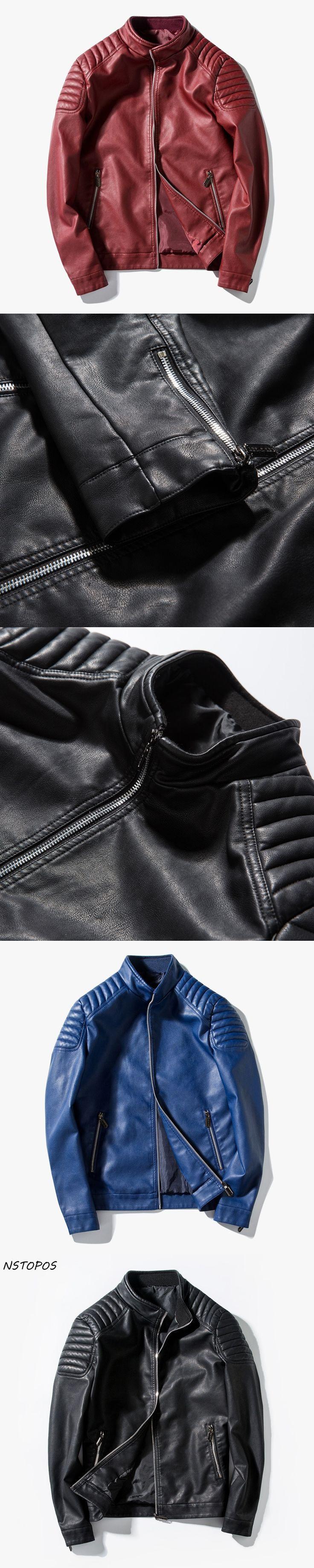 2017 Mens Leather Jacket Slim Fit Motorcycle Zipper PU Jacket  Black Red Blue Men Faux Leather Jacket M-3XL Autumn Leather Coat