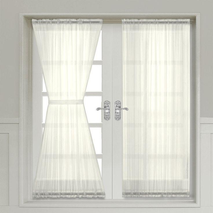 Abri Ivory Crushed Sheer Door Curtain Panel