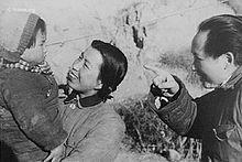 Li Na, Jiang Qing and Mao in Yan'an in 1943