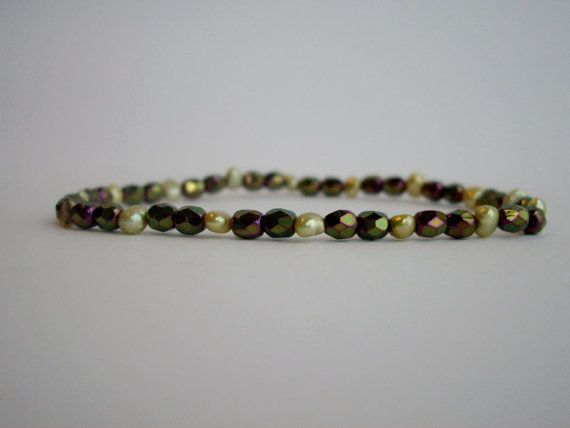 Green Freshwater Pearl Bracelet With Sparkly Faceted Glass on Etsy, $10.00 AUD