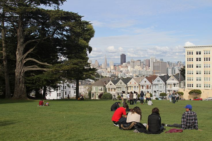 """alamo square, san francisco: i've seen this view in many movies and tv shows including the opening credits of the later seasons of full house (the corny american sitcom, not the fun korean drama).  i've always wanted to visit this spot.  i now know where it is.  hopefully, i can drive out with the family one weekend day to enjoy the view of """"the painted ladies."""" http://en.wikipedia.org/wiki/Alamo_Square,_San_Francisco"""