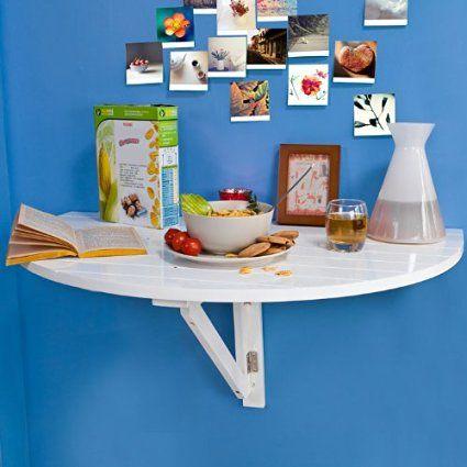 SoBuy FWT10-W Table murale rabattable en bois, Table de cuisine pliable, Table enfant demi-ronde, Blanc