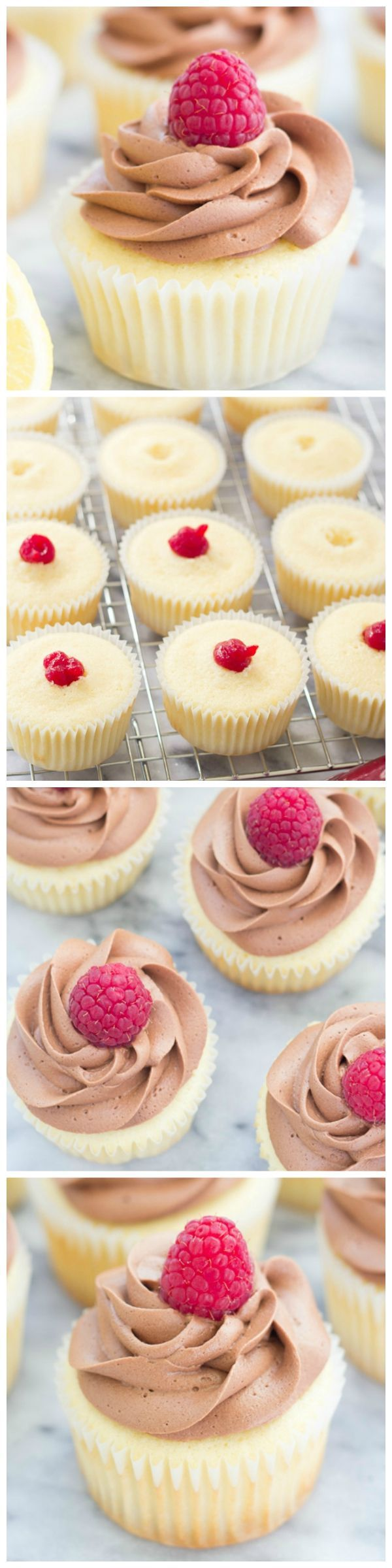 Raspberry-Filled Chocolate Lemon Cupcakes with fudgy Greek yogurt frosting!