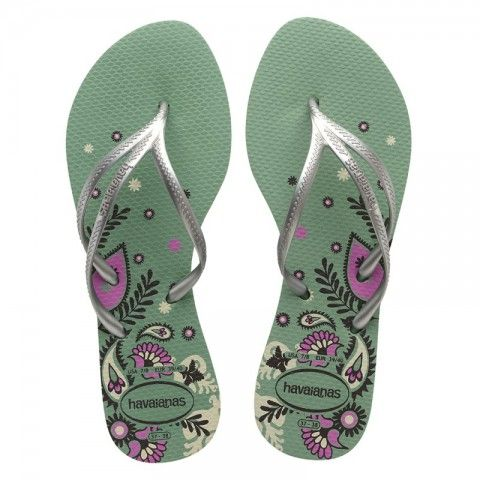 Check out the flip flops that will perfectly fit!Shop now! Havaianas Tria Print Green/Silver Flip Flops @www.flopstore.com https://www.flopstore.com/com_english/havaianas-tria-print-green-silver-flip-flops.html