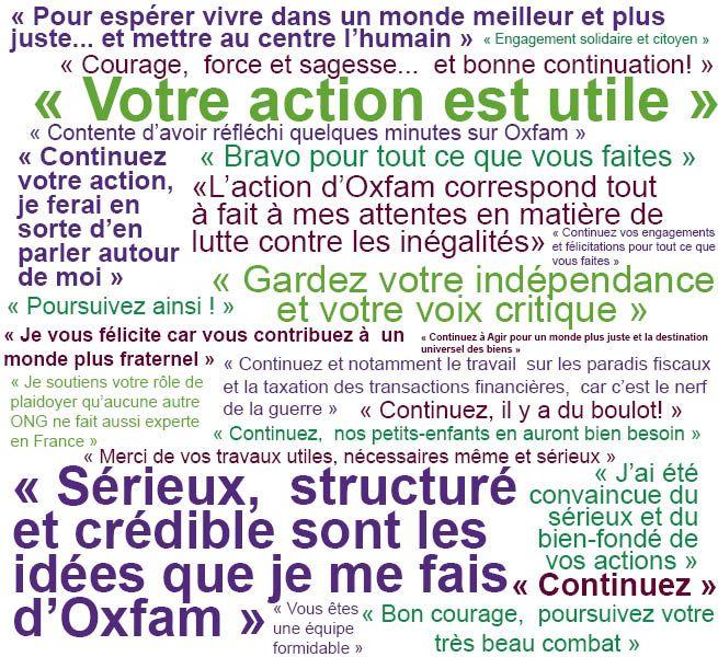 Quelques uns des messages que vous nous avez envoyés à l'occasion de l'étude que nous avons faite auprès de notre réseau, à l'automne 2013