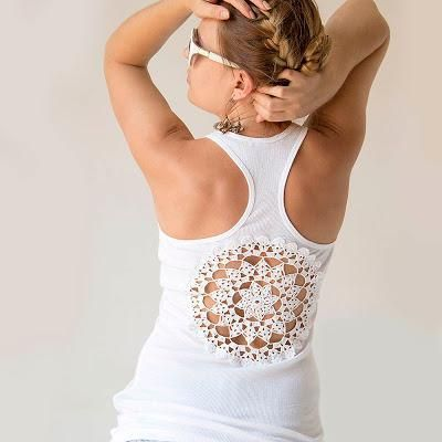 DIY Clothes DIY Refashion  DIY  DOILY   CRAFTS: Tutorial - Tanks with upcycled vintage crochet doily   back