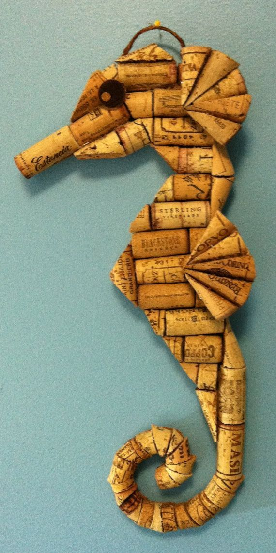 Seahorse wall hanging made from recycled corks #winecorkcrafts #beachdecor