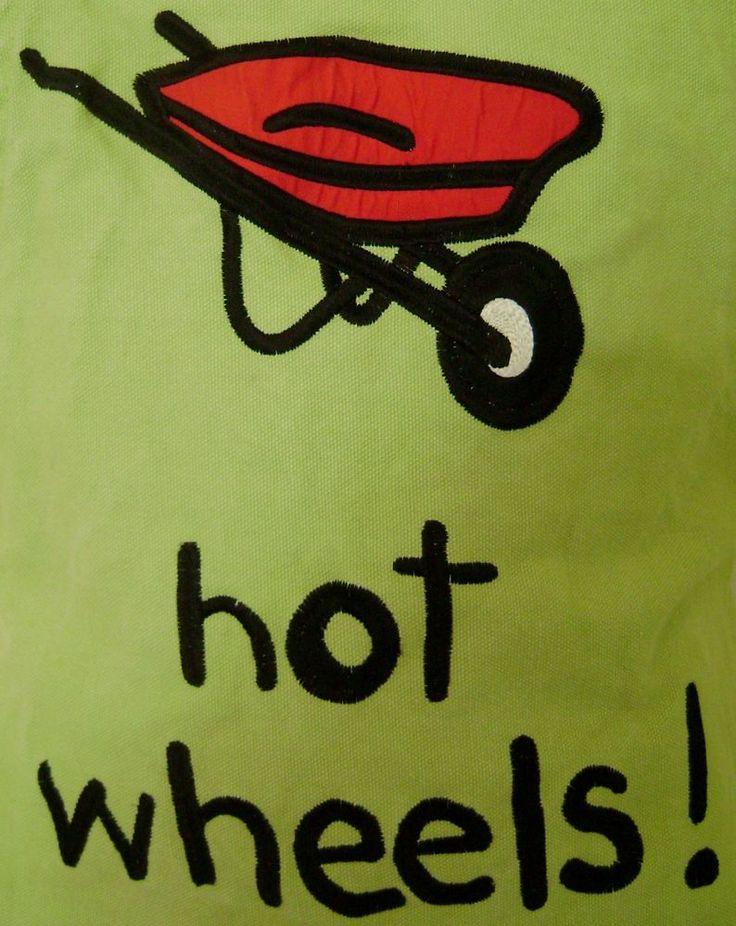 "Hot Wheels Wheelbarrow Gardening Apron 34"" Canvas Full Length Landscaping Green #WendyTancock #Contemporary"