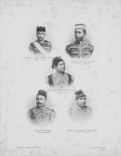 1898 Sultan of Deli, Sultan of Serdang, Sultan of Siak, Sultan of Assahan and Sultan of Langkat