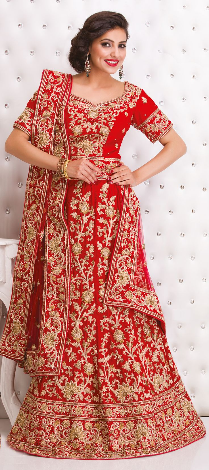 164122: Red and Maroon color family Bridal Lehenga .