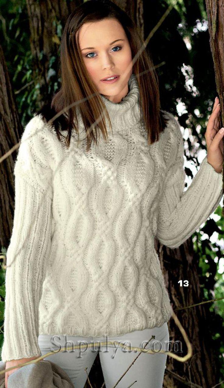 Белый пуловер с узором из кос, вязаный спицами