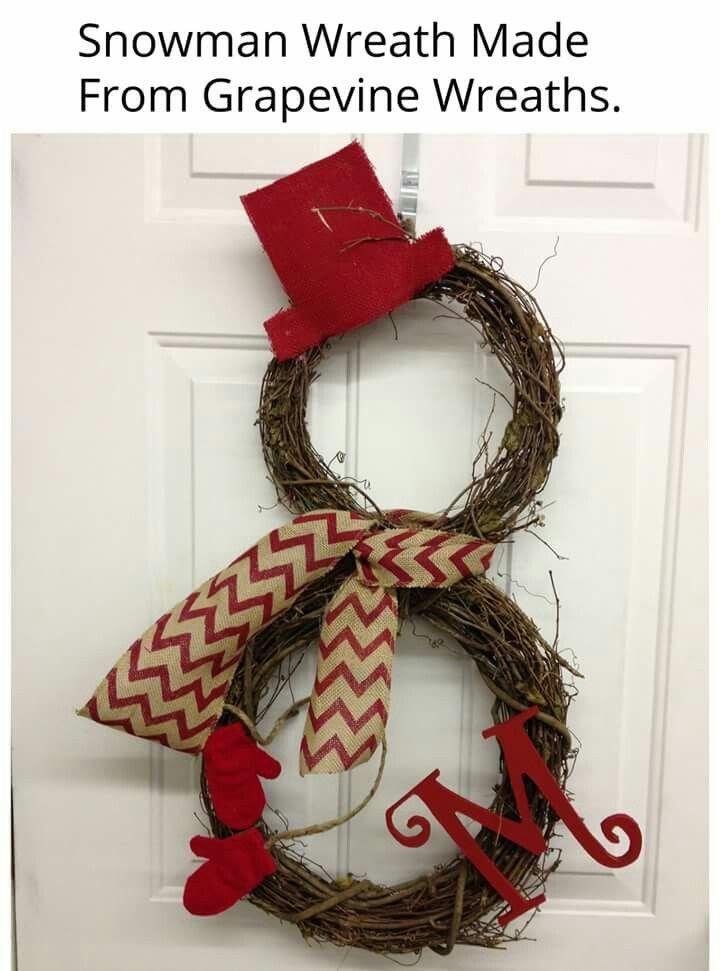 grapevine wreaths to make a snowman