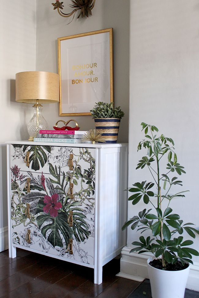 Wallpapered Chest of Drawers DIY - Swoon Worthy